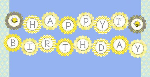 happy bee day banner    bumblebee party happy birthday