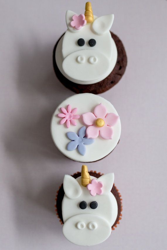 Fondant Unicorn and Flower Toppers for Cupcakes Cookies or Brownies