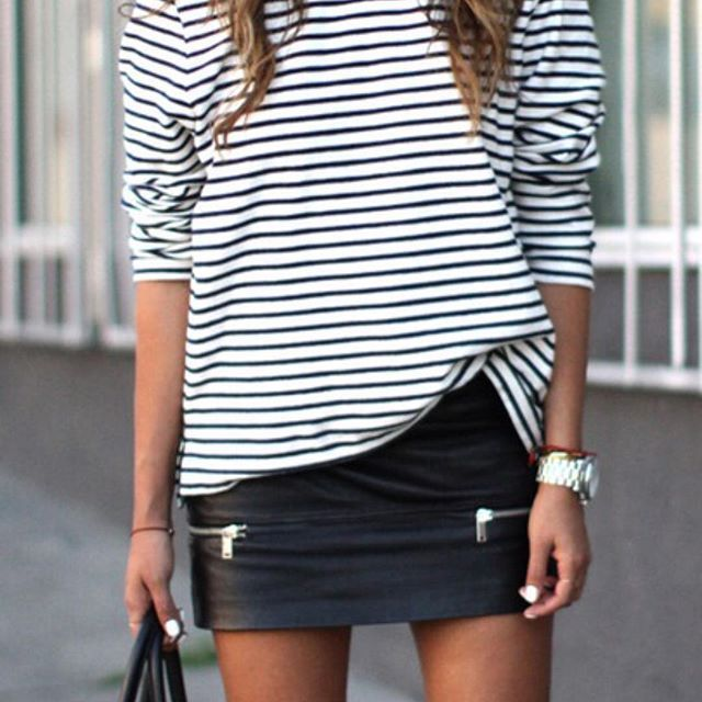 SIMPLICITY || Stripes and black leather go together like cookies and cream ✔️