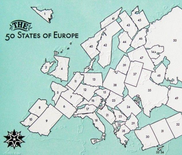 Map of U.S. states transposed onto similar European countries to ...