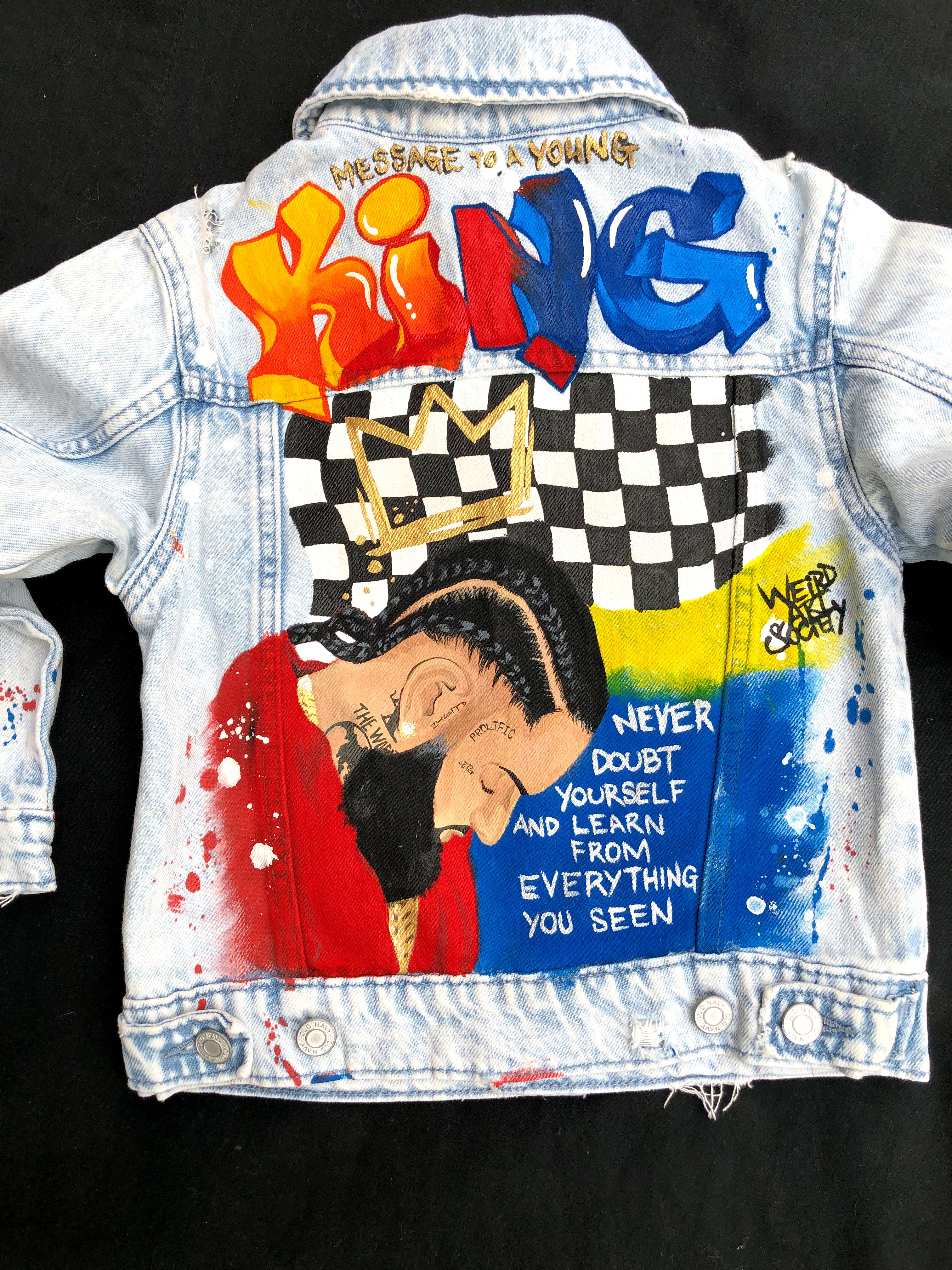 Custom Hand Painted Nipsey Hussle Denim Jean Jacket For 5 Year Olds Birthday Party Outfit The Ma Custom Jean Jacket Jean Jacket Design Custom Denim Jackets [ 4032 x 3024 Pixel ]