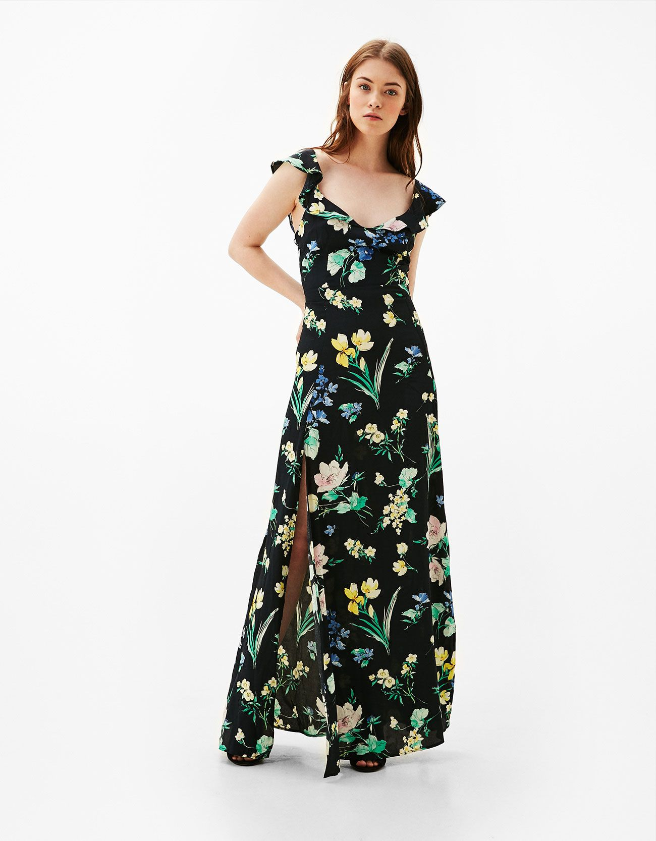 9c6f10d64 Vestido largo flores abertura espalda   Moda: Mujer Streetwear and ...