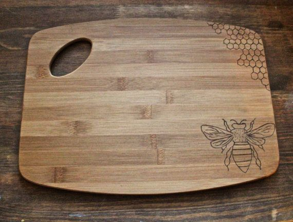 Woodburned Bamboo Cutting Board Measuring 15 Cm X 11 Honey Bee And