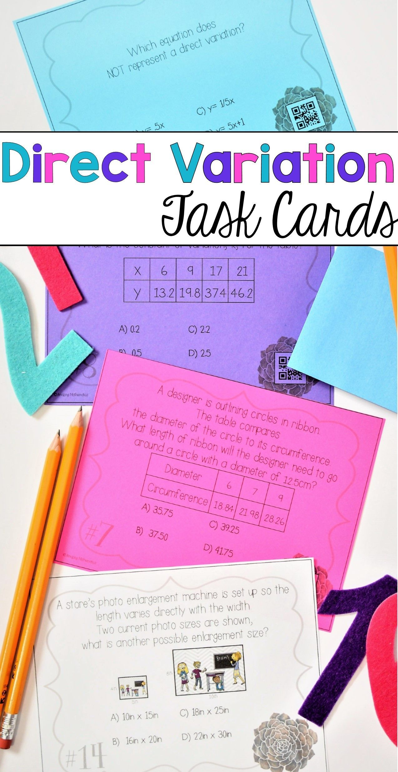 Direct Variation Task Cards With Images