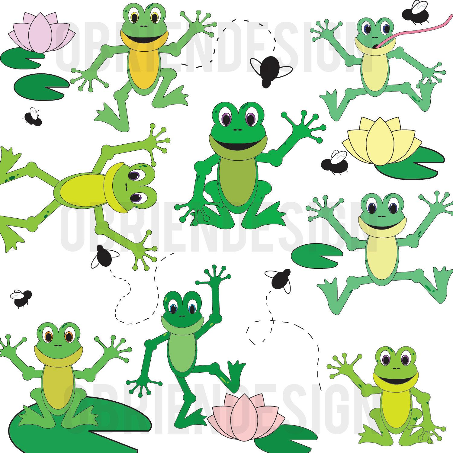 fun frog clipart by obriendesign518 on etsy [ 1500 x 1500 Pixel ]