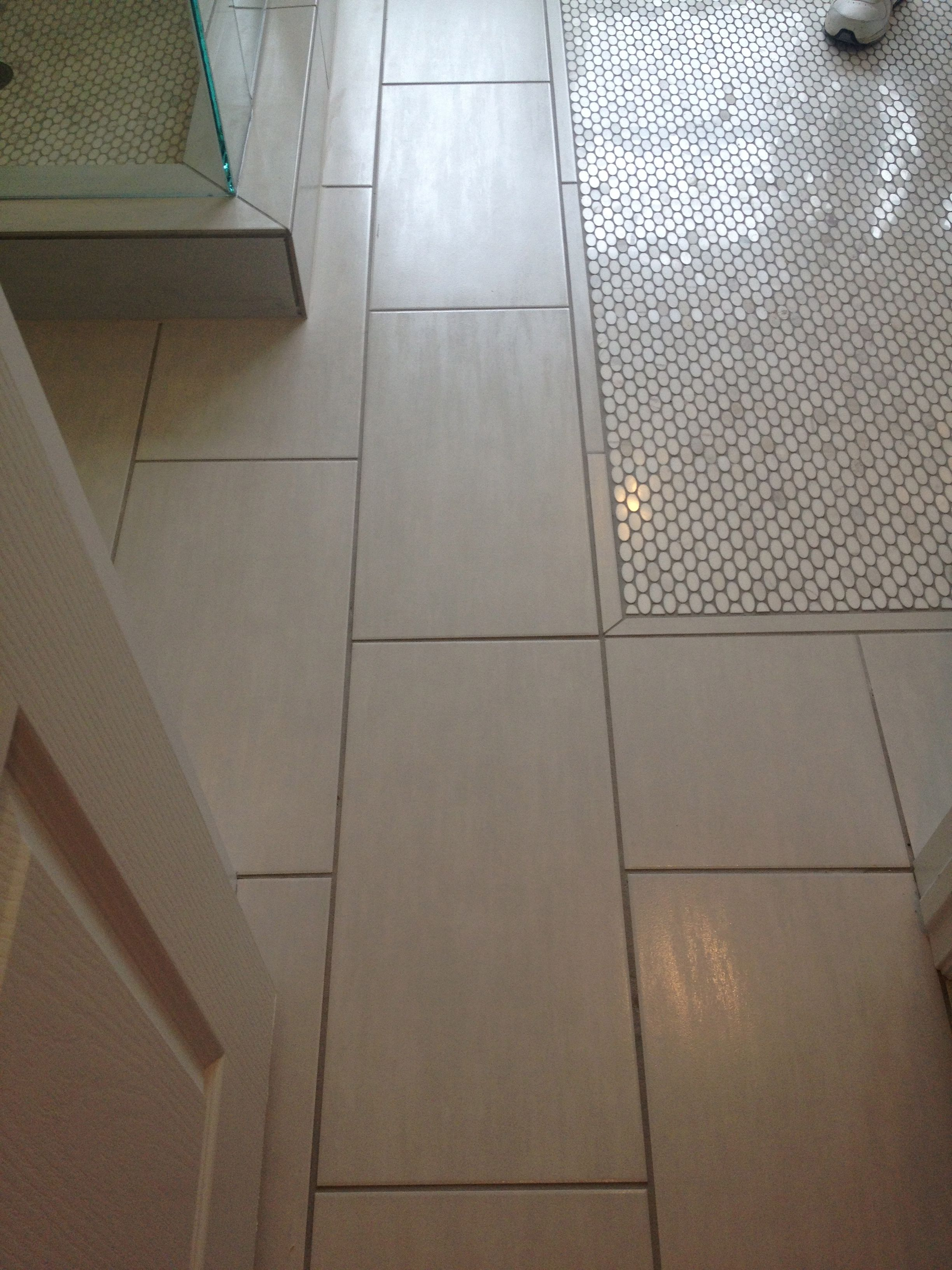 12x24 Off White Tile With Carrara Marble Oval Penny Tile Inlay Dream Bath Penny Tile Carrara Tiles