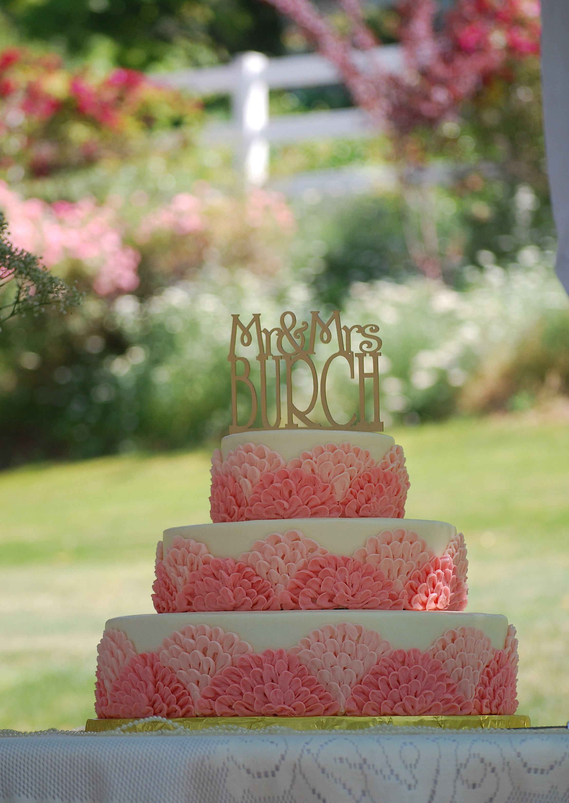 3 Tiered Round Wedding Cake With Pink Scalloped Ruffles Such A Really Sweet