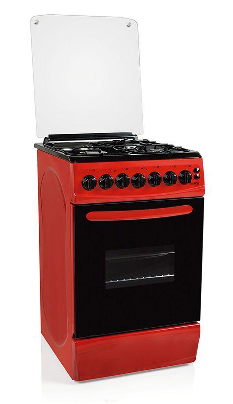 Cocina Te 5631 R Combinada Delne Frente Y Laterales Color Rojo Mesa Esmaltada Negra 3 Horn Cocina Con Horno Electrico Horno Electrico Electrodomesticos