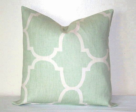 Seafoam Green and White Moroccan 18 inch Decorative Pillows Accent Pillow throw Pillow Cushion Cover on Etsy, $23.00