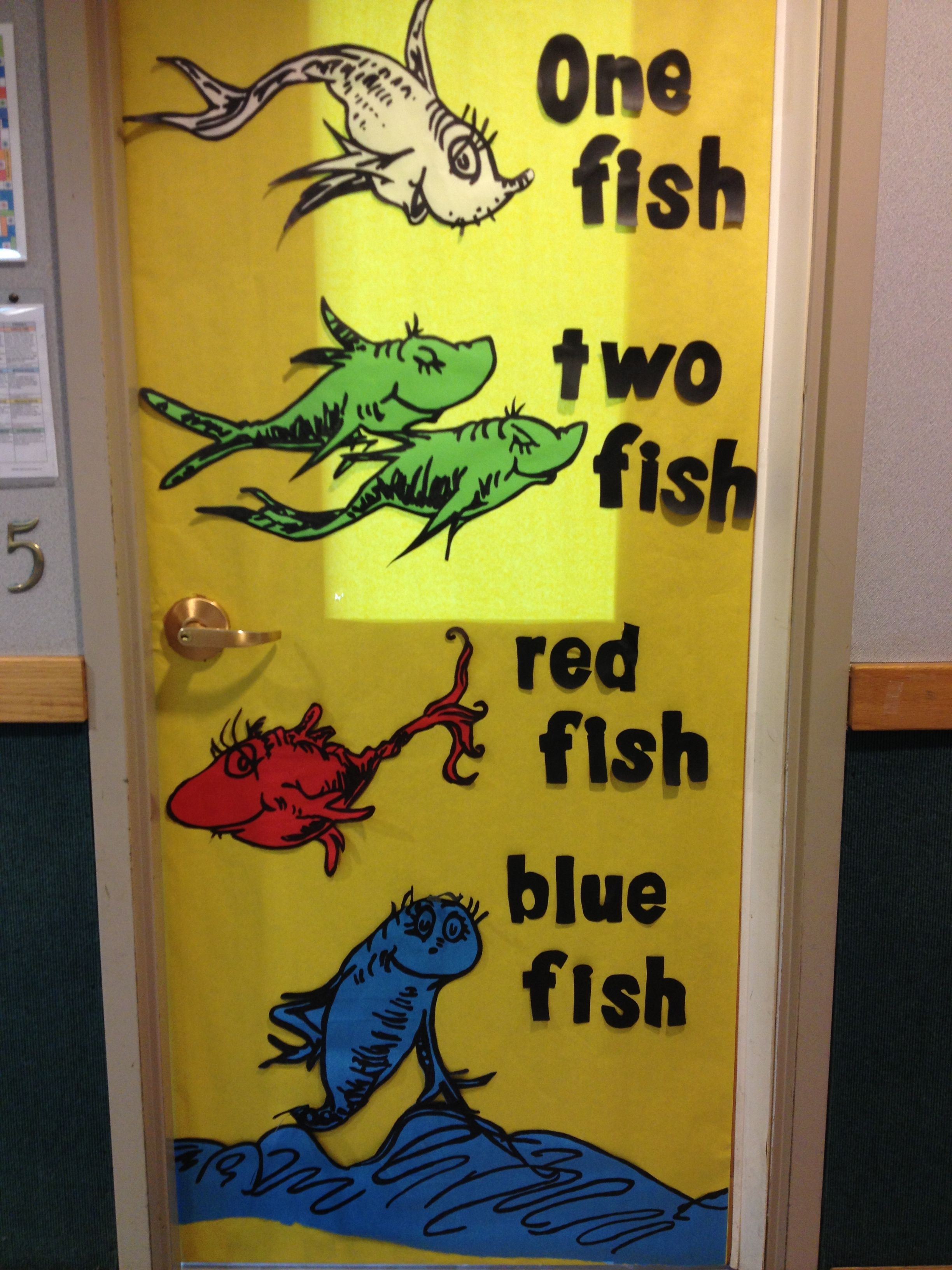 Dr seuss, One Fish Two Fish Red Fish Blue Fish Door decoration ...