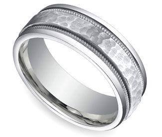 Hammered Milgrain Men S Wedding Ring In Platinum