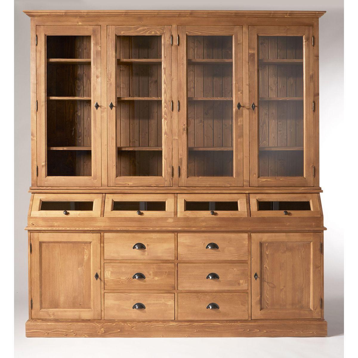 meuble vaisselier made in meubles 4 trappes en pin massif cir miel prix promo vaisselier la. Black Bedroom Furniture Sets. Home Design Ideas