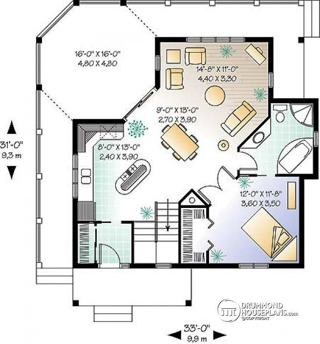 1st Floor Sunroom To Deck Over Walkout Basement: Affordable Cabin House Plan Open Floor Plan, Large