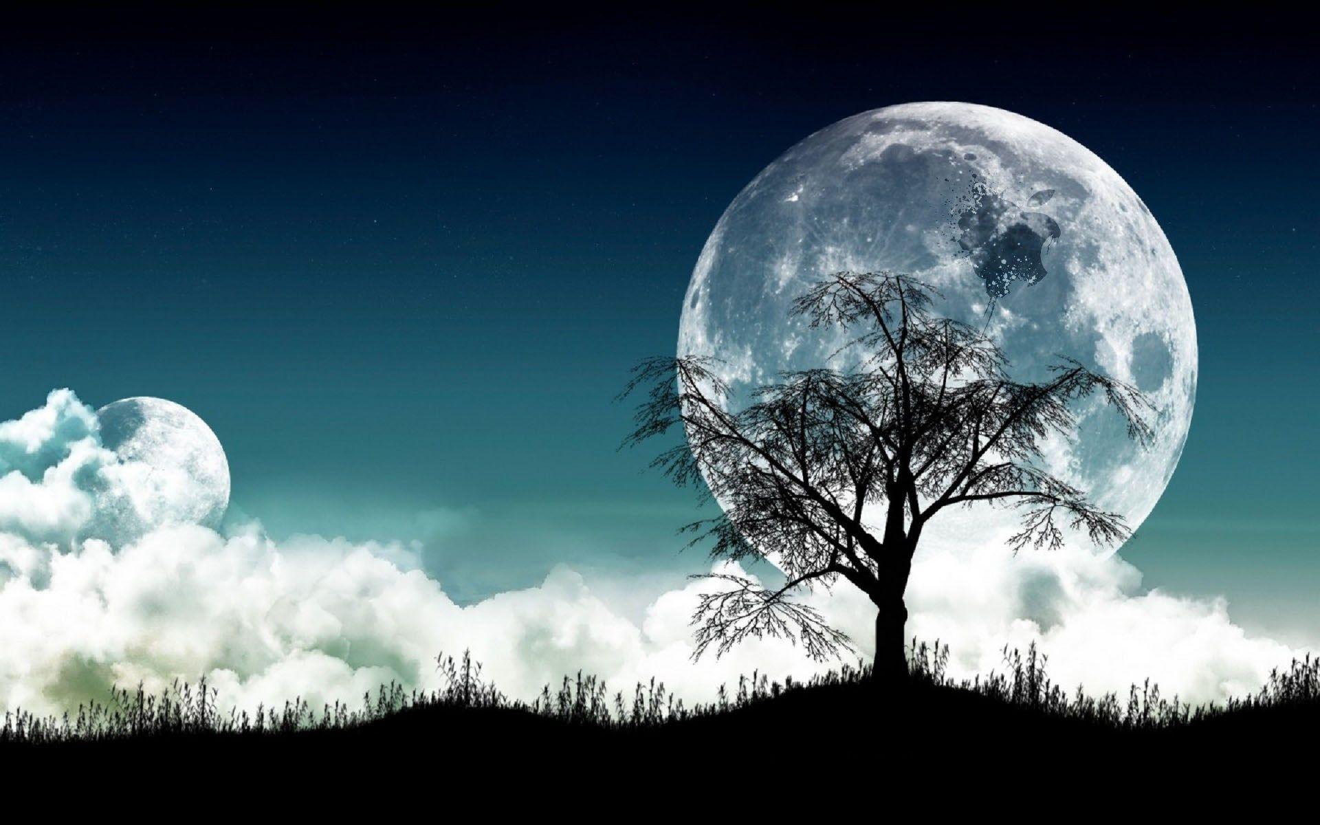 3d Night Moon Desktop Background Hd Wallpaper Images Hd Photoshop Landscape 3d Background