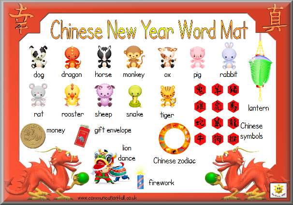 Printable Mat With 12 Animals And Chinese Characters This