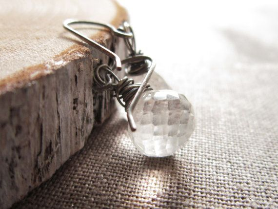 Crystal Quartz Earrings wire wrapped by thelittlehappygoose, $45.00