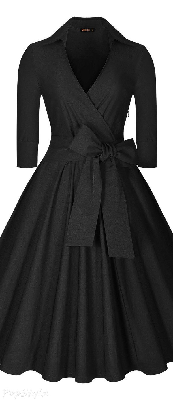 MIUSOL Deep-V Neck Half Sleeve Vintage Classic Swing Dress  48841c8bb014