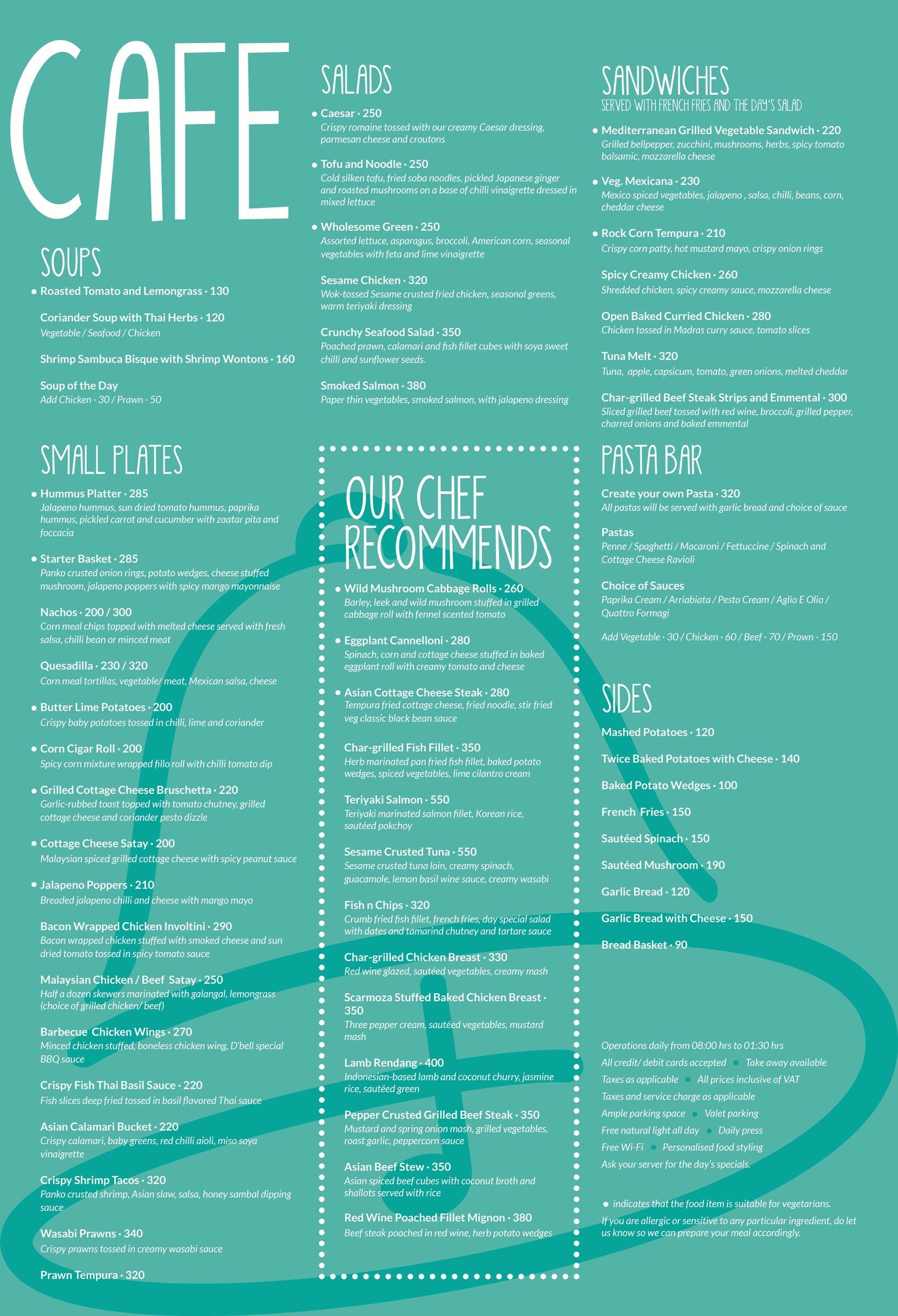 D\'Bell Cafe Menu | Cafe menu | Pinterest | Cafe menu, Menu and Cafes