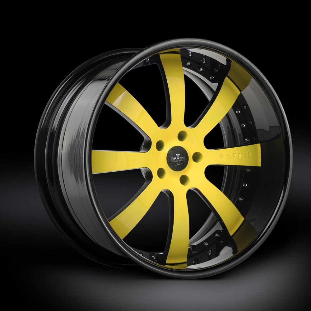 You Found The Swoops Wheels From Rucci Rucci S Swoops: Angle Shot Of The Savini Wheels XLT Series SV28 Yellow