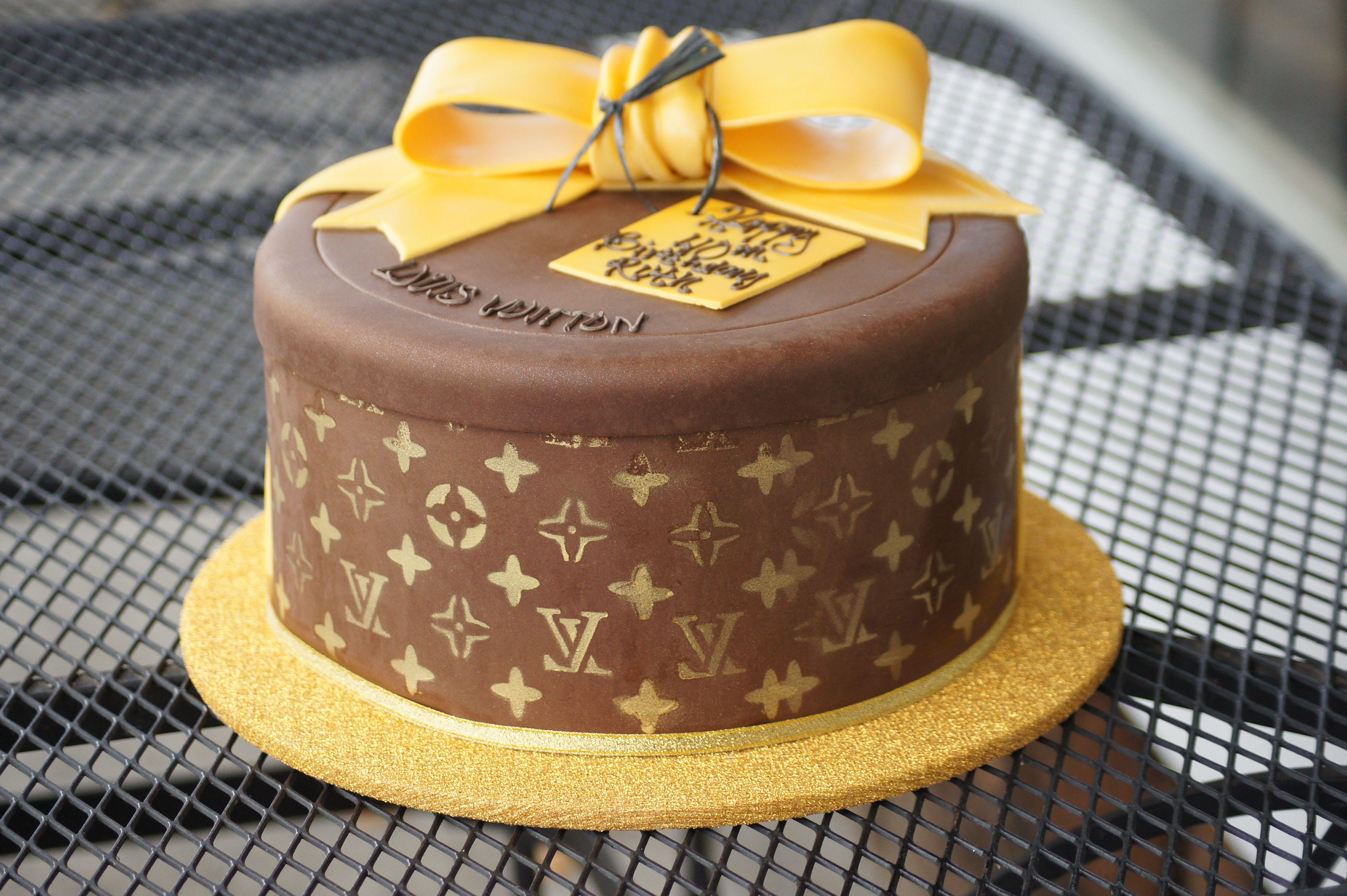 Louis Vuitton designer gift box birthday cake Themed