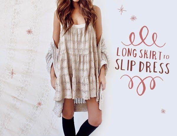nuovo stile f686b c8bf4 vestito-fai-da-te-DIY-Skirt-to-Slip-Dress-riciclare-una ...
