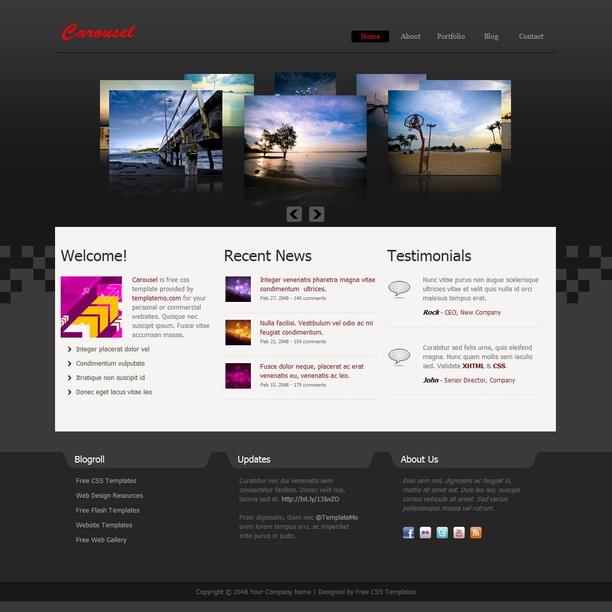 Carousel Theme Is Designed By A Darkgray Gradient Background Using Pixelated Effect In The Middle Horizon Homepag Css Templates Free Web Template Web Template