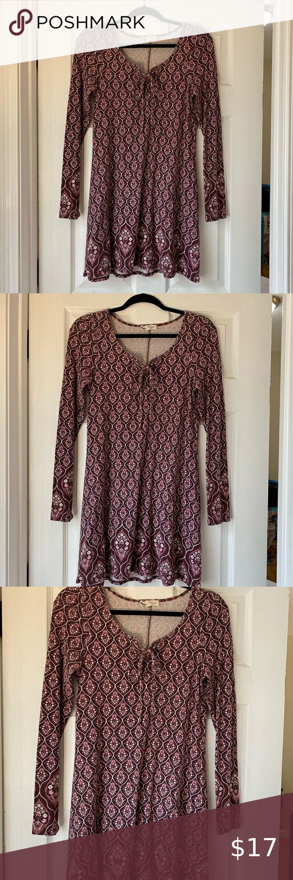 About A Girl lace up neck long sleeve dress- M Abo