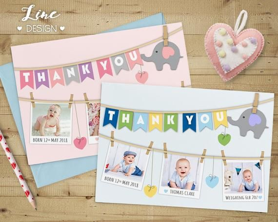 Thank You Cards, Personalised Thank You Cards with Photo, Birthday Thank You Cards, Bespoke New Baby #businessthankyoucards