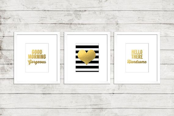 Good Morning Gorgeous Wall Art Hello There Handsome Love Heart Prints Set Of 3 Faux Gold Foil