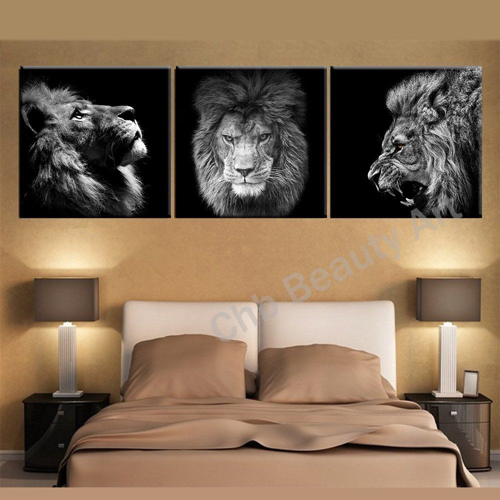 Living Room Paintings Art 3 Panels Lion King Canvas Art Modern Abstract Painting Wall