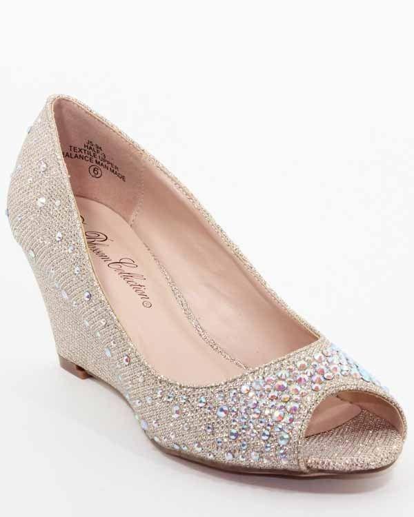 De Blossom Half 3 Nude Rhinestone Peep Toe Wedges Shoes