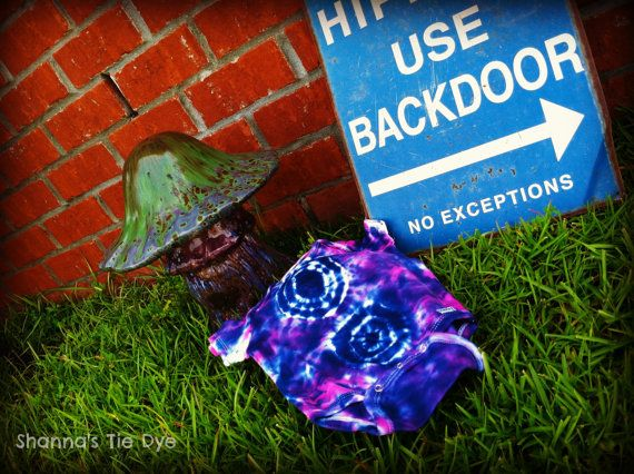 Hippies use Back Door Ready to Ship 18M tie dye onesie by ShannasTieDye on Etsy, $12.00