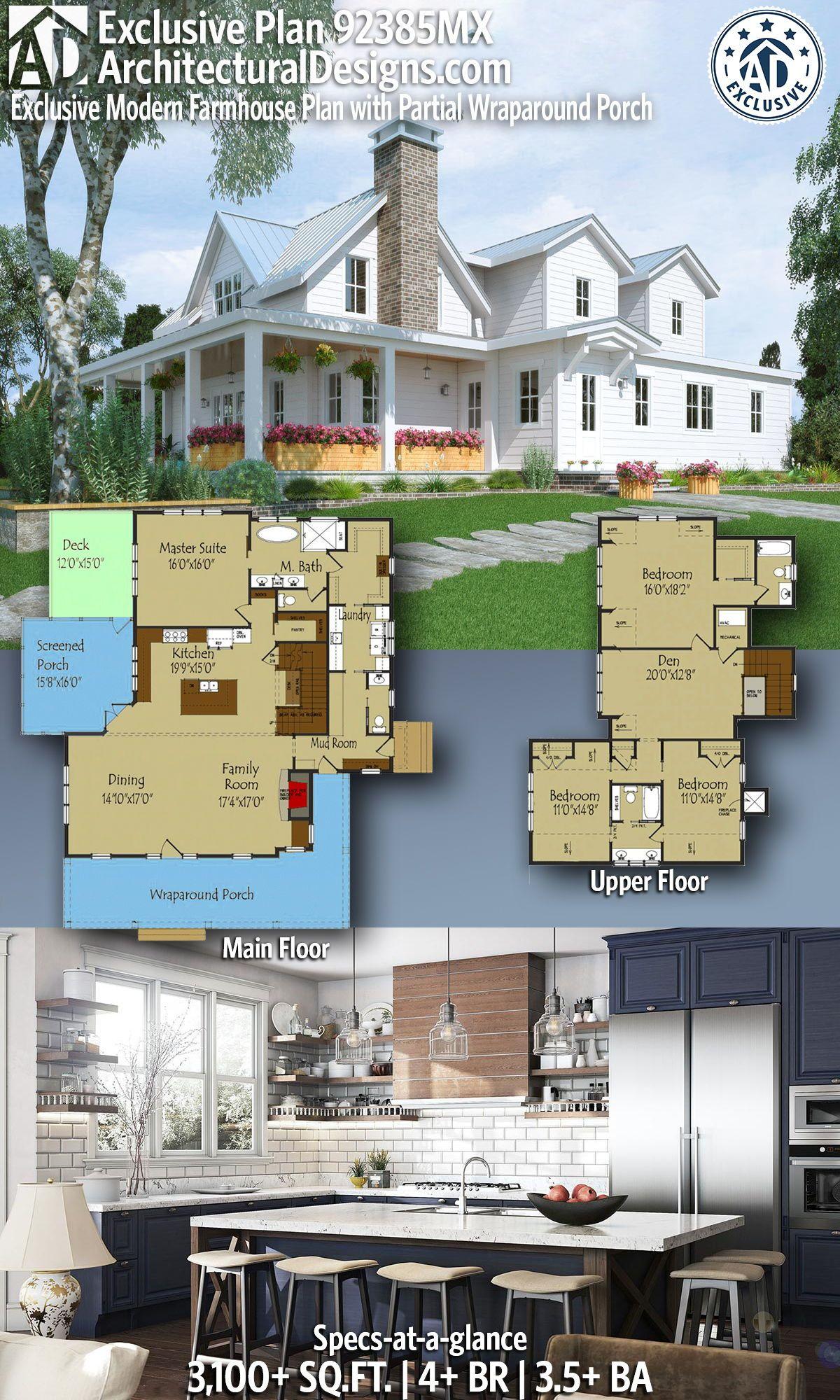 Plan 92385mx Exclusive Modern Farmhouse Plan With Partial Wraparound Porch Modern Farmhouse Plans House Plans Farmhouse Farmhouse Plans