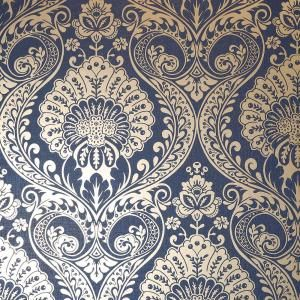 Luxe Damask navy Vinyl Strippable Roll (Covers 56