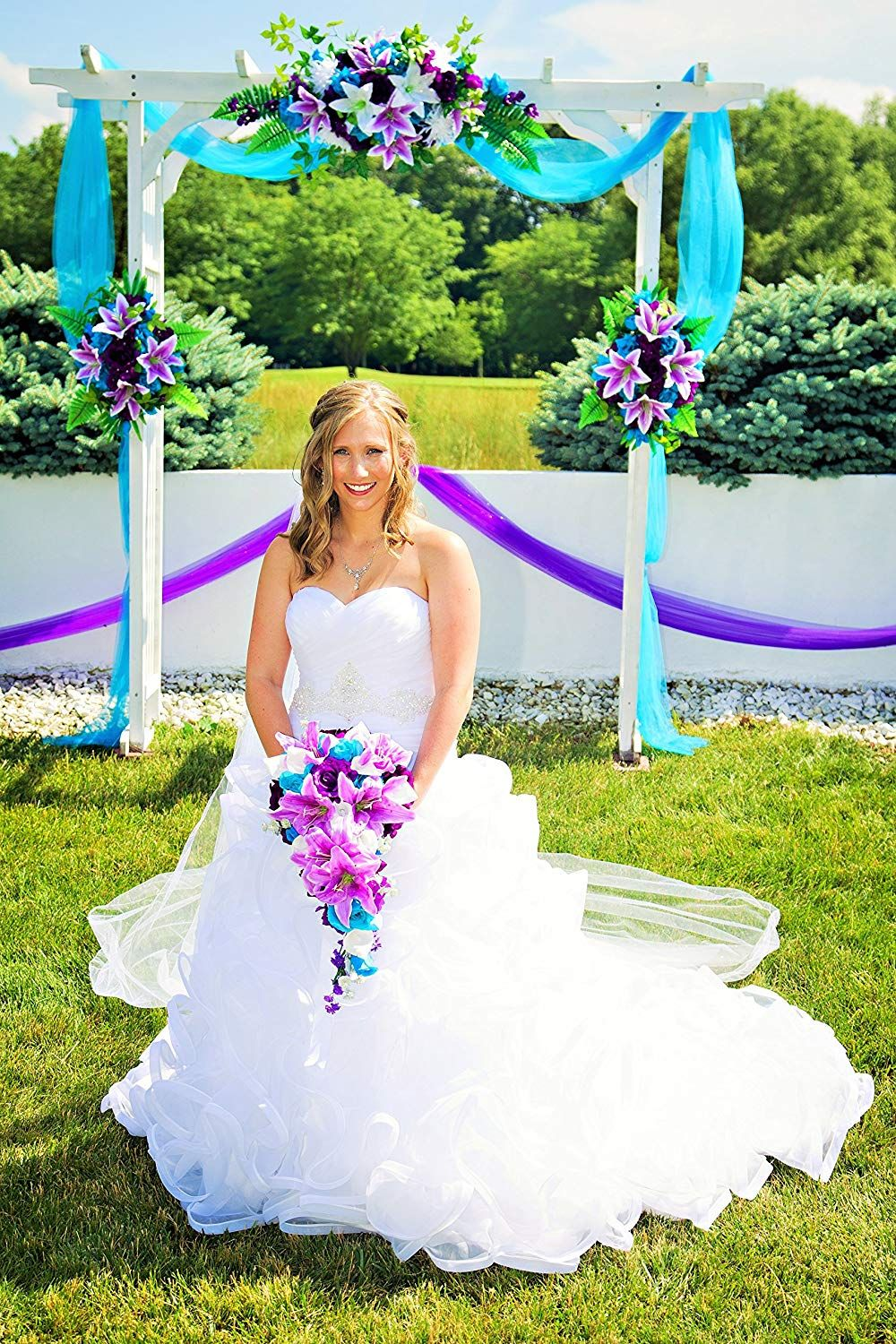 Cascade wedding bouquet turquoise purple and
