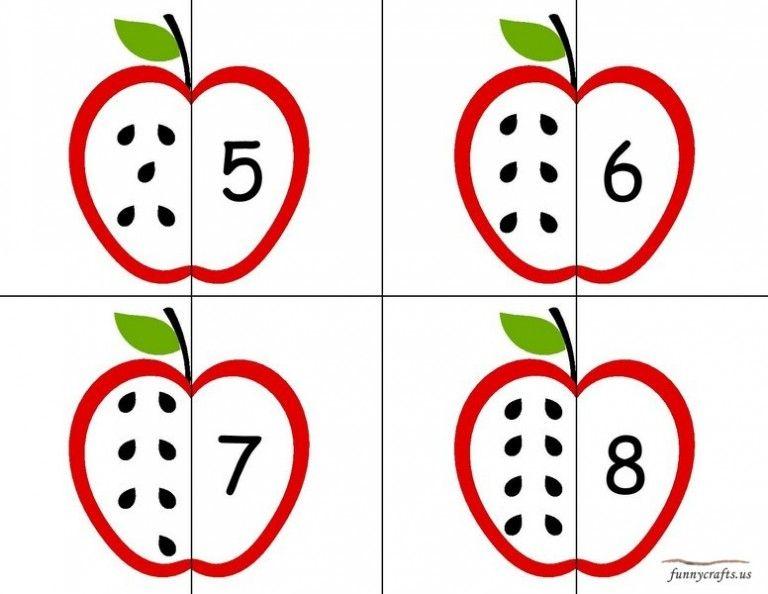 apple number puzzle preschool Actividades de matemáticas