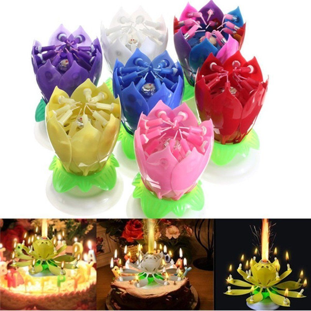 Beautiful Musical Happy Birthday Party Spin Rotate Lotus Flower Music Candle