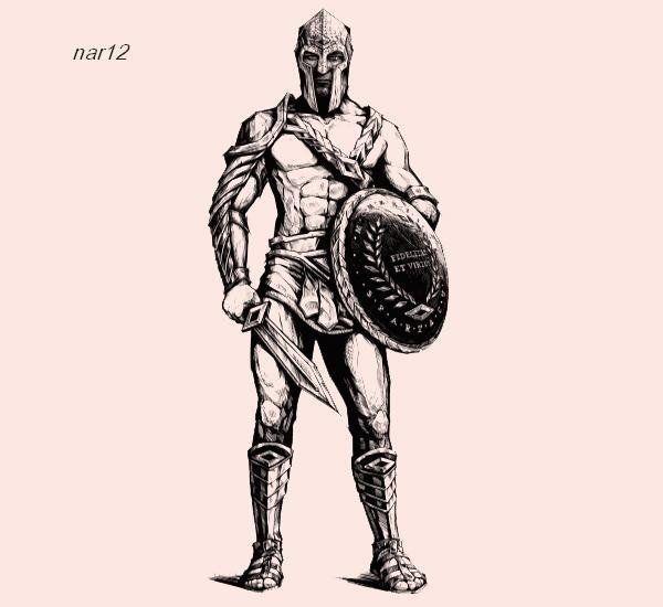 Как нарисовать гладиатора карандашом поэтапно?