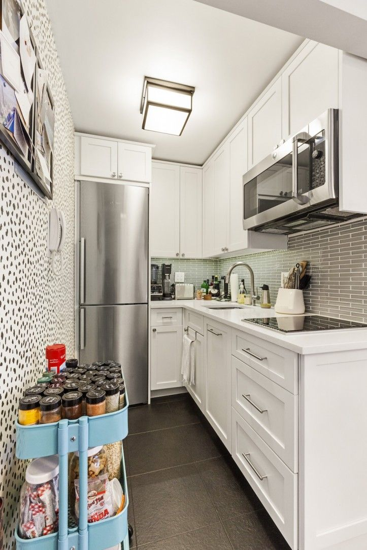 A Studio Apartment Turns Movie Set In Manhattan Tiny House Kitchen Tiny Kitchen Remodel Budget Kitchen Remodel