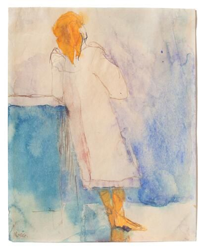 Standing Girl - Emil Nolde 1908-10 Watercolor on Japan paper