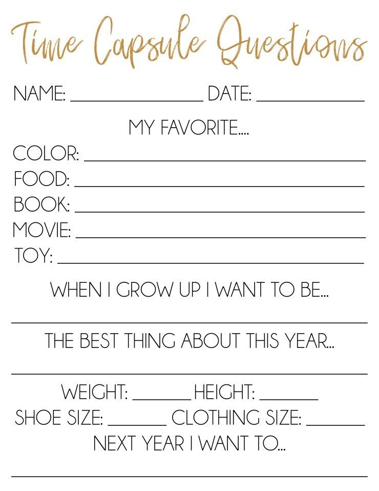 Free Printable Time Capsule Ideas Time capsule, New year