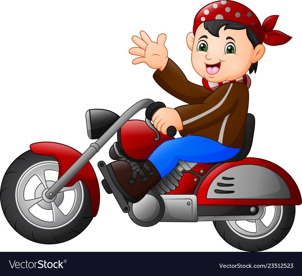 Cartoon Boy Funny Riding A Motorcycle Vector Image On Com Imagens