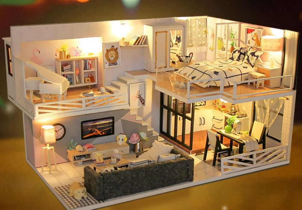 Diy Miniature Doll House Kit Time Memory Loft Apartment Craft Etsy Doll House Plans Loft Apartment Sims 4 House Design