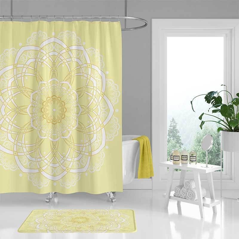 Yellow Bohemian Shower Curtain And Bath Mat With Mandala Design