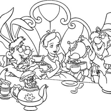 Alice In Wonderland Tea Party Coloring Page ぬり絵 ディズニーアート 塗り絵