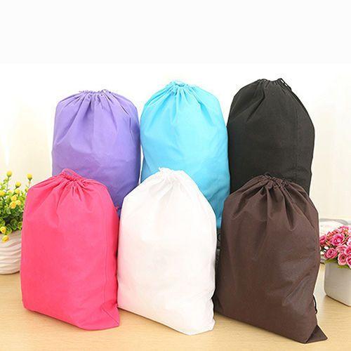 Brilliant 2 Sizes Waterproof Shoes Bag Travel Portable Shoe Storage Bag Organize Tote Drawstring Bag Dolap Organizer Non-woven Organizador Storage Bags