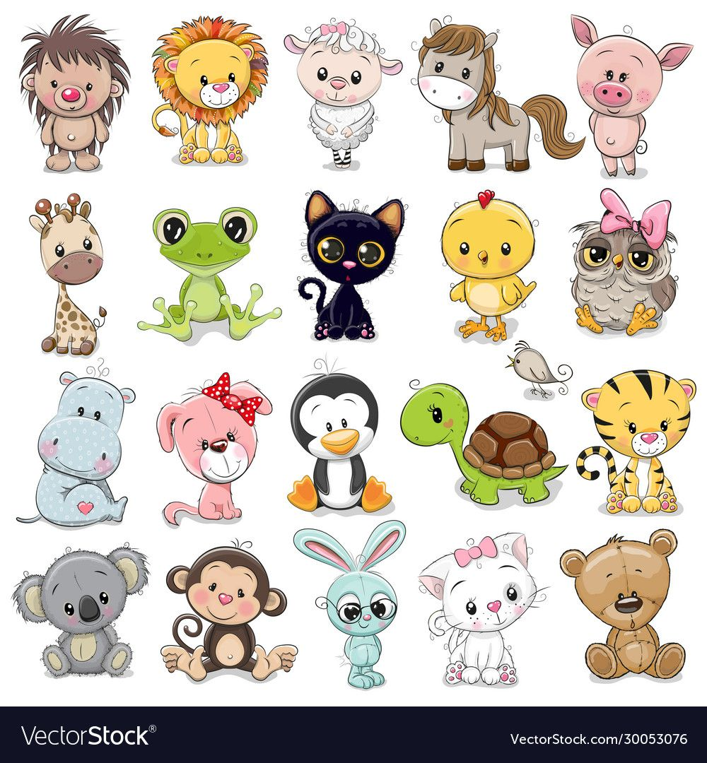 Set Of Cute Animals On A White Background Download A Free Preview Or High Quality Adobe Illustrator Cute Animals Cute Animal Illustration Cute Cartoon Animals
