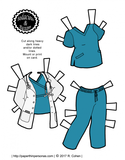 graphic relating to Paper Dolls to Printable called A Nurse or Health practitioner Paper Doll Outfit toward Print for Cost-free