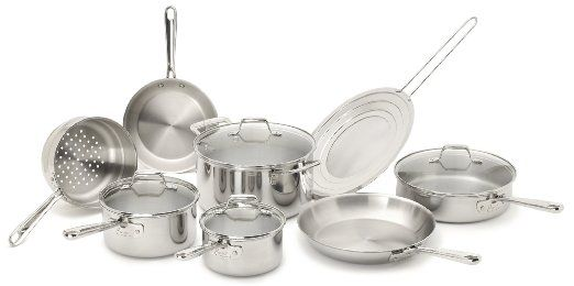 150 Amazon Com Emeril By All Clad E914sc64 Pro Clad Tri Ply Stainless Steel Dishwasher Safe 12 Pie Stainless Dishwasher