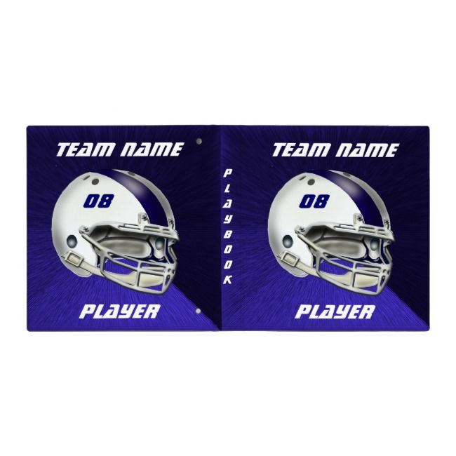 White And Navy Blue Football Helmet 3 Ring Binder Pad